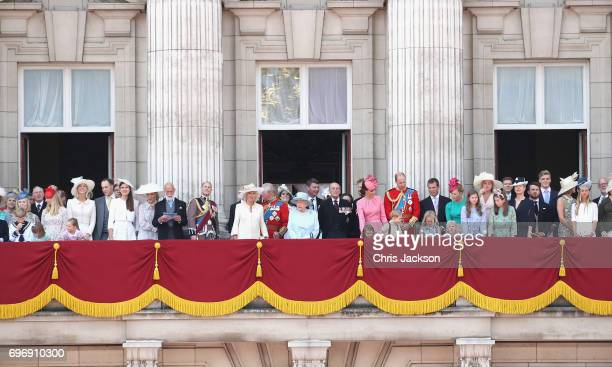 Members of the Royal family look out from the balcony of Buckingham Palace during the Trooping the Colour parade on June 17 2017 in London England