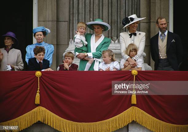 Members of the royal family on the balcony of Buckingham Palace at the Trooping the Colour ceremony in London 11th June, 1988. Back row, left to...