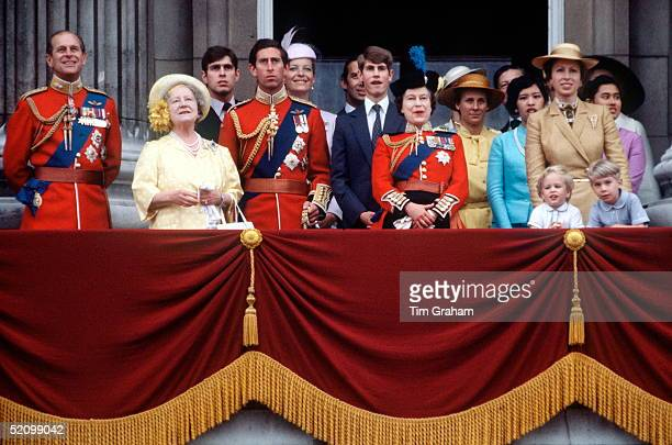 Members Of The Royal Family On The Balcony Of Buckingham Palace For The Trooping The Colour Ceremony Prince Philip Queen Mother Prince Andrew Prince...