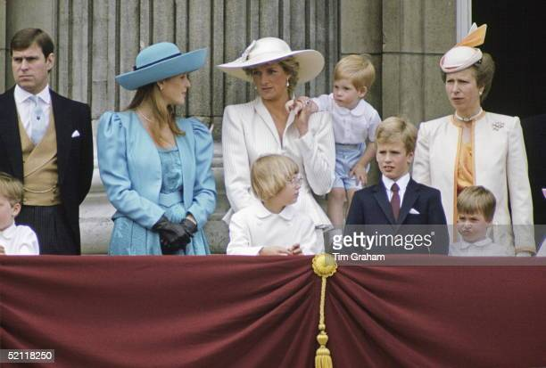 Members Of The Royal Family On The Balcony Of Buckingham Palace For Trooping The Colour. In The Back Row From Left To Right: Prince Andrew, Duchess...