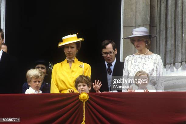 Members of the Royal Family on the balcony of Buckingham Palace for the flypast during the Trooping the Colour ceremony Left to right Peter Phillips...
