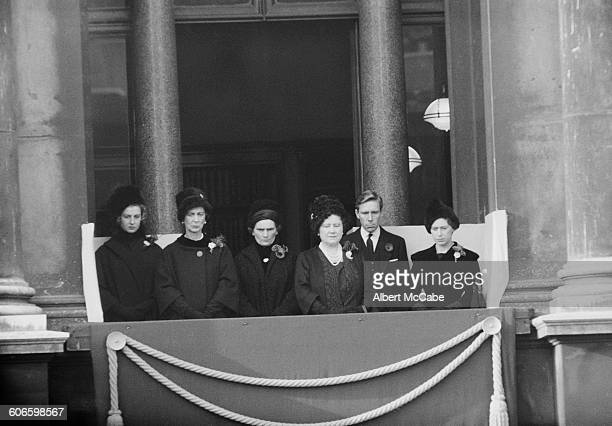 Members of the royal family on the balcony of Buckingham Palace on Remembrance Day London UK 13th November 1960 From left to right Princess Alexandra...