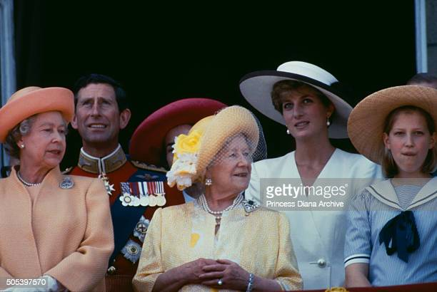 Members of the royal family on the balcony of Buckingham Palace during the Trooping of the colour 13th June 1992 From left to right Queen Elizabeth...
