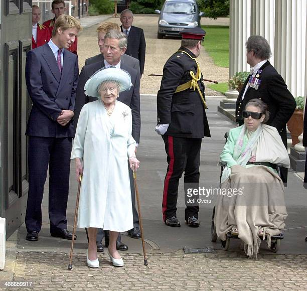 Members of the Royal Family outside Clarence House to celebrate the Queen Mothers 101st birthday