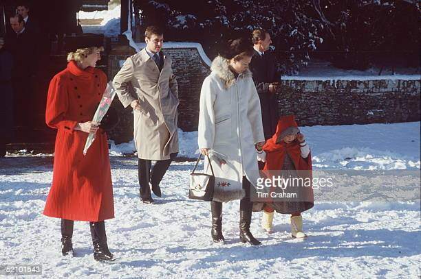 Members Of The Royal Family Returning Home In The Snow From A Church Service Princess Diana Prince Andrew Princess Anne And Zara Phillips