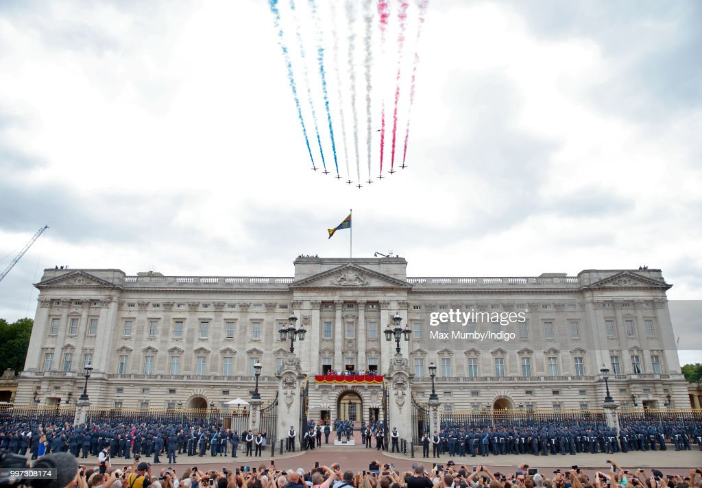 Members of the Royal Family watch a flypast (including the Red Arrows) to mark the centenary of the Royal Air Force from the balcony of Buckingham Palace on July 10, 2018 in London, England. The 100th birthday of the RAF, which was founded on on 1 April 1918, was marked with a centenary parade with the presentation of a new Queen's Colour and flypast of 100 aircraft over Buckingham Palace.