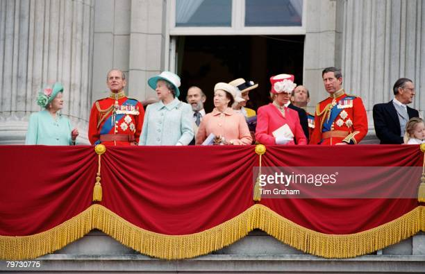 Members of The Royal family watch Trooping the Colour from the balcony at Buckingham Palace Queen Mother Prince Philip Duke of Edinburgh Queen...