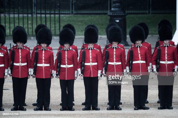 Members of the Royal Guard are seen parading during the Colonel´s Review. Soldiers rehearse their steps as they prepare for Trooping the Color to...