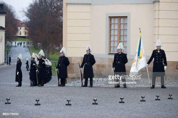 Members of the Royal Guards ahead of the christening Prince Gabriel of Sweden at Drottningholm Palace Chapel on December 1 2017 in Stockholm Sweden