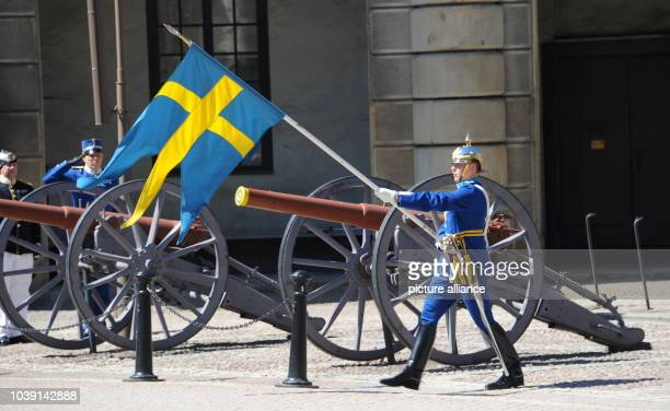 Members of the Royal Guards are on parade during the change of guards at the Royal Palace in Stockholm, Sweden, 07 June 2013. Swedish Princess...