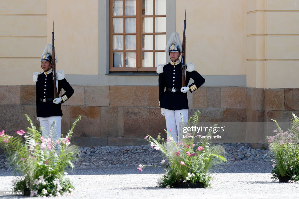 Members of the Royal Guards at the christening of Princess Adrienne of Sweden at Drottningholm Palace Chapel on June 8, 2018 in Stockholm, Sweden.