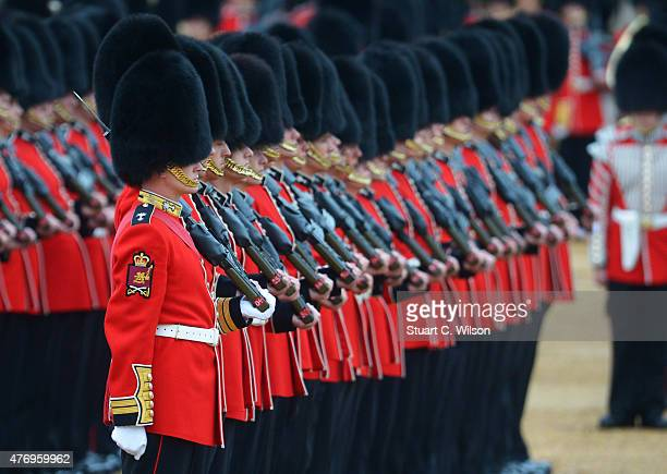 Members of the Royal Guards parade during the annual Trooping The Colour ceremony at Horse Guards Parade on June 13 2015 in London England