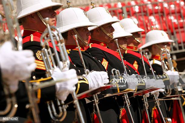 Members of the Royal Marines Band prepare to perform in Horse Guards Parade on May 11 2009 in London England The Massed Bands of the Royal Marines...