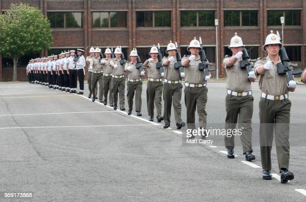 Members of the Royal Marines take part in a final rehearsal for their part in the Armed Forces' ceremonial duties at the royal wedding at on the...