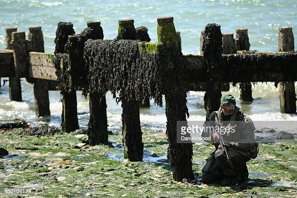 Members of the Royal Marines take part in an amphibious display on Southsea Beach as part of the commemoration of the Dday landings on June 5 2014 in...