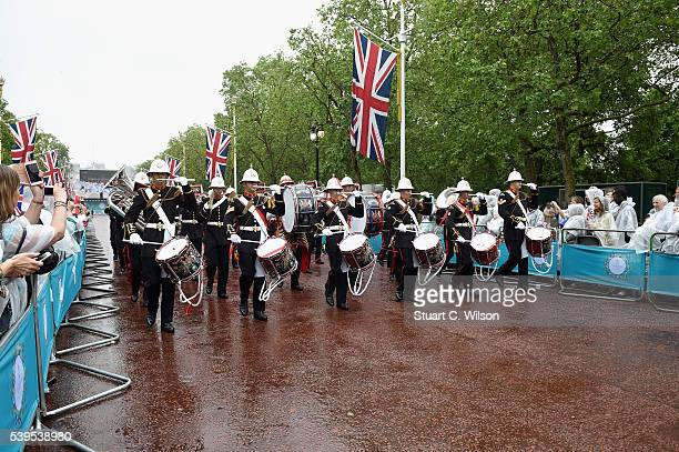 Members of The Royal Marines take part in the Parade during The Patron's Lunch celebrations for The Queen's 90th birthday at on June 12 2016 in...