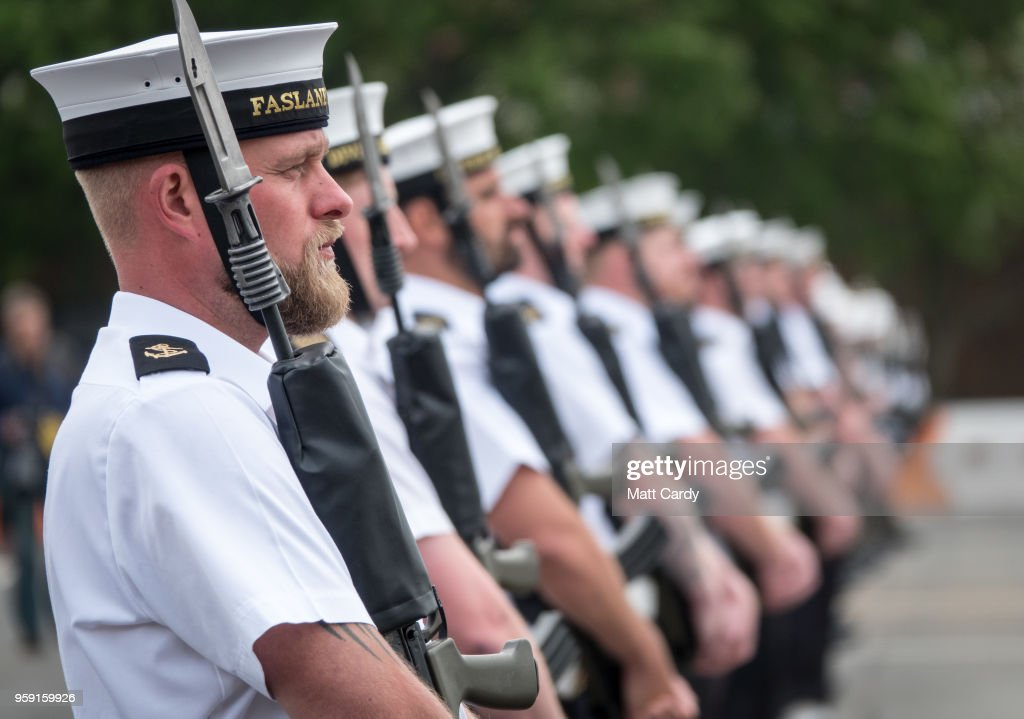Members of the Royal Navy's small ships and diving units take part in a final rehearsal, ahead of their role in the Armed Forces' ceremonial duties at the royal wedding at HMS Collingwood on May 16, 2018 in Fareham, England. Sailors from the Royal Navy small ships, diving unit and the Royal Marines will provide ceremonial support at the royal wedding of Prince Harry to Ms. Meghan Markle on saturday, June 19 in Windsor.