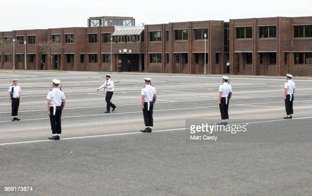 Members of the Royal Navy's small ships and diving units take part in a final rehearsal for their part in the Armed Forces' ceremonial duties at the...