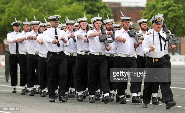 Members of the Royal Navy's small ships and diving units take part in a final rehearsal ahead of their role in the Armed Forces' ceremonial duties at...