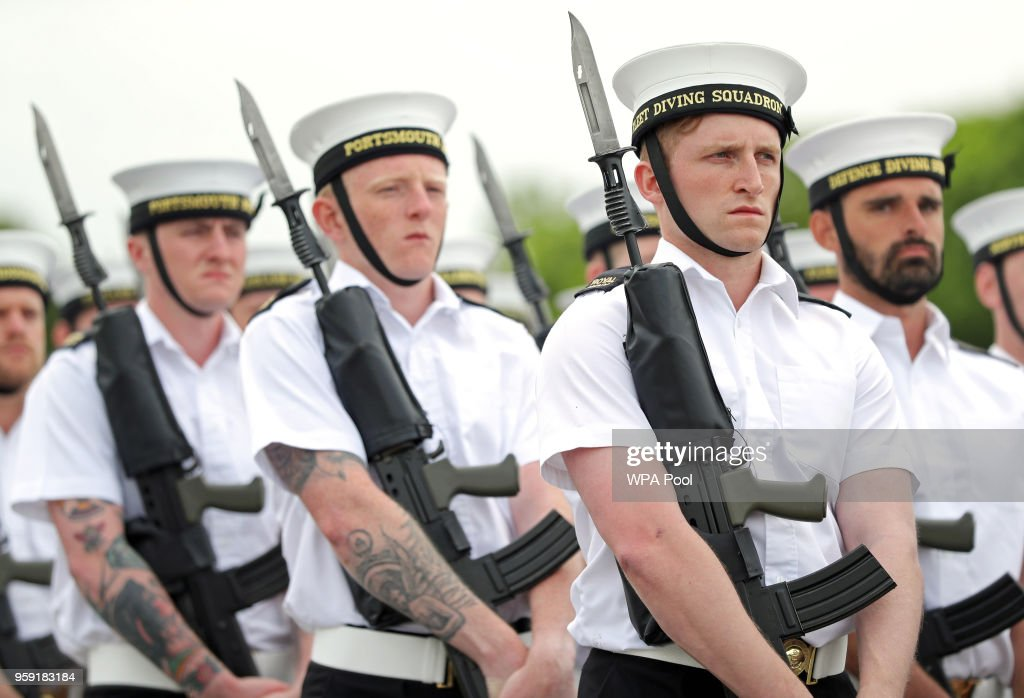 Members of the Royal Navy's small ships and diving units take part in a final rehearsal, ahead of their role in the Armed Forces' ceremonial duties at the royal wedding at HMS Collingwood on May 16, 2018 in Fareham, England. Sailors from the Royal Navy small ships, diving unit and the Royal Marines will provide ceremonial support at the royal wedding of Prince Harry to Ms. Meghan Markle on saturday, June 19 in Windsor. Photo by Andrew Matthews - WPA Pool/Getty Images)