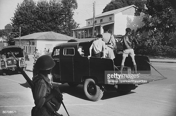 Members of the royal Rhodesia regiment on way to Kariba Dam to guard installation during strike by African workers.
