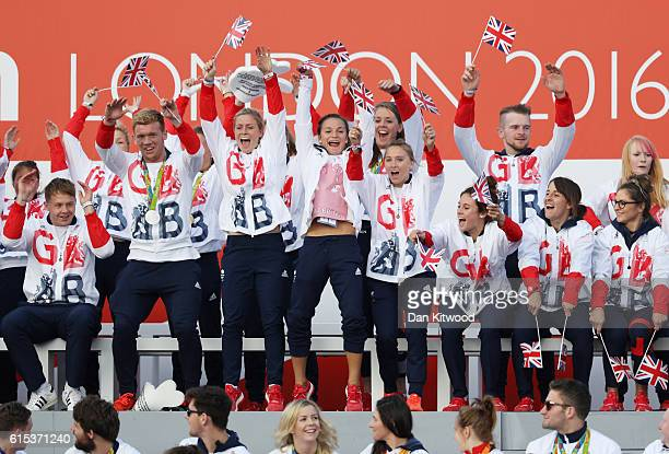 Members of the Rugby 7's teams celebrate during the Olympics & Paralympics Team GB - Rio 2016 Victory Parade at Trafalgar Square on October 18, 2016...