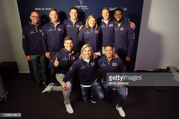 Members of the Rugby World Cup winners South Africa with Laureus Sporting Moment Nominee Natalie du Toit during interview sat the Mercedes Benz...