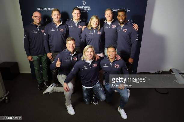 Members of the Rugby World Cup winners South Africa with Laureus Sporting Moment Nominee Natalie du Toit during interview at the Mercedes Benz...