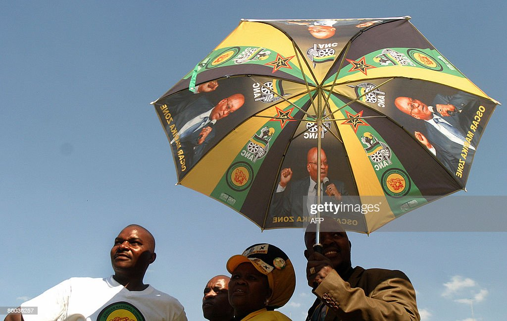 Members of the ruling party African National Congress attend the final election rally at the Ellis Park stadium, in Johannesburg on April 19, 2009.