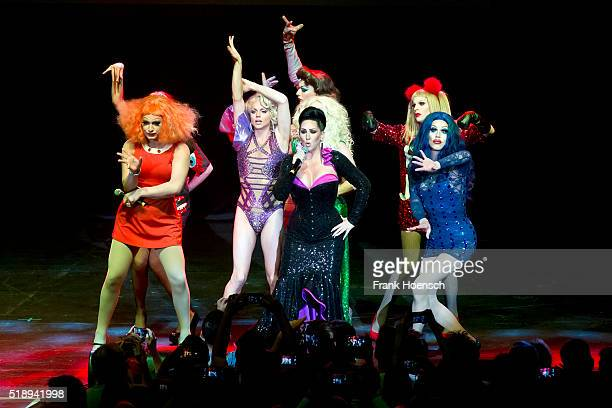 Members of the RuPaul's Drag Race perform live during a concert at the Admiralspalast on April 3 2016 in Berlin Germany