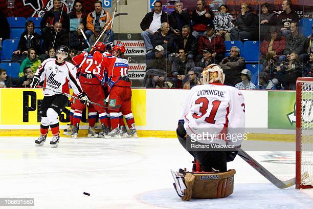 Members of the Russia Junior AllStars celebrate the gamewinning goal by Artemiy Panarin during the 2010 CHL Subway Super Series game against the...