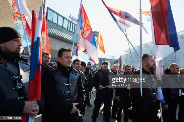 Members of the Russian biker gang Night Wolves attend the parade in Banja Luka on January 9 2019 in Banja Luka Bosnia and Herzegovina Republika...