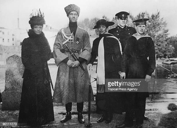 Members of the Russian royal family at at the Yelagin Palace in Saint Petersburg circa 1916 From left to right Empress Maria Feodorovna her son Grand...