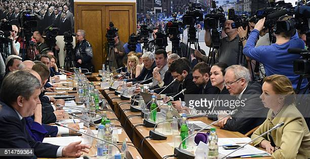 Members of the Russian State Duma Committee on physical culture sports and youth policy along with experts and sports ministry officials hold a...
