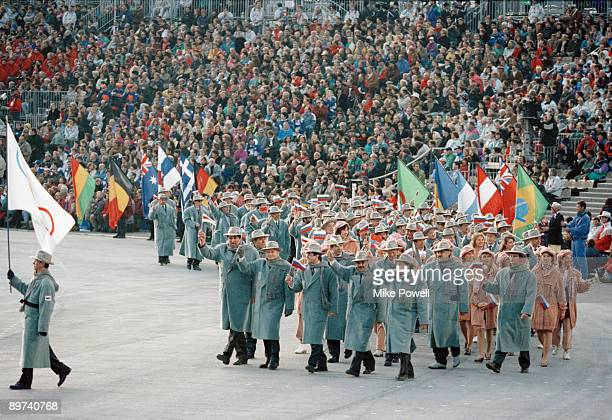 Members of the Russian team parading at the opening ceremony of the Winter Olympics at the Theatre des Ceremonies Albertville Canada 8th February 1992