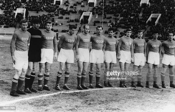 Members of the Russian World Cup Soccer team who are to play England in Moscow Left to right Igor Netto Lev Yashin Eduard Streltsov Constantin...