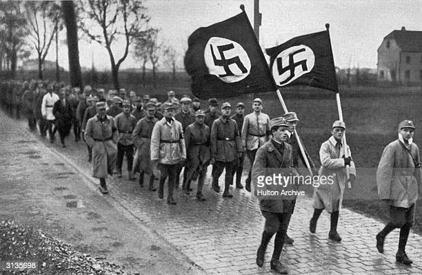 Members of the SA the paramilitary wing of the Nazi party during a training march outside Munich