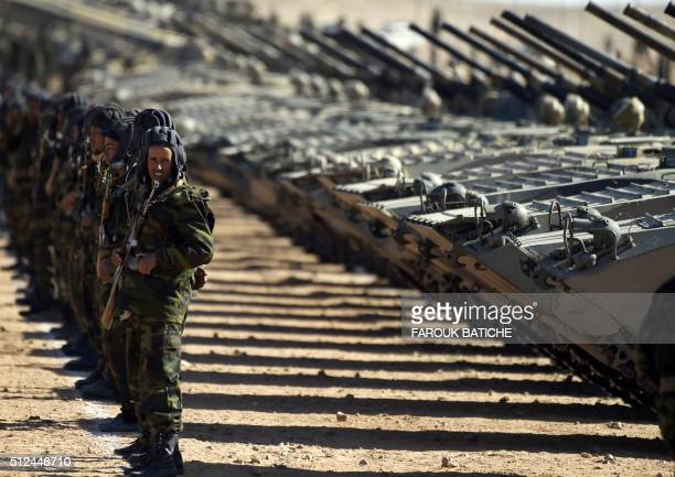 Members of the Sahrawi People's Liberation Army take part in a ceremony to mark 40 years after the Sahrawi Arab Democratic Republic was proclaimed by...