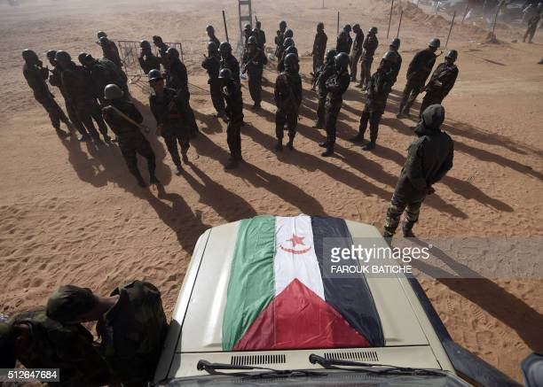 Members of the Sahrawi People's Liberation Army take part in a ceremony to mark 40 years after the Front proclaimed the Sahrawi Arab Democratic...