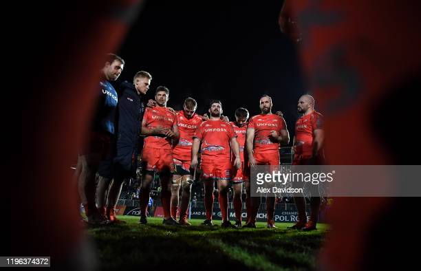 Members of the Sale side huddle after defeat in the Gallagher Premiership Rugby match between Bath Rugby and Sale Sharks at the Recreation Ground on...