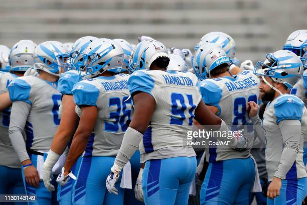 Members of the Salt Lake Stallions participate in warmups prior to an Alliance of American Football game against the Birmingham Iron at Legion Field...