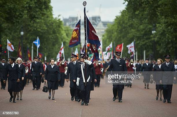 Members of the Salvation army from across the world take part in a march to celebrate the 150th anniversary of the Salvation Army on July 5 2015 in...