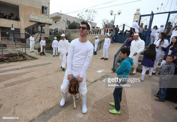 Members of the Samaritan community sacrifice animals for God during the Passover ceremony in West Bank city of Nablus on April 11 2017