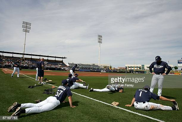 Members of the San Diego Padres stretch before a Spring Training Cactus League game against the Kansas City Royals on March 23 2006 at the Peoria...