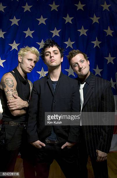 Members of the San Francisco Bay Area based band Green Day Mike Dirnt Billy Joe Armstrong and Tre Cool Green Day currently has the number one Hit...