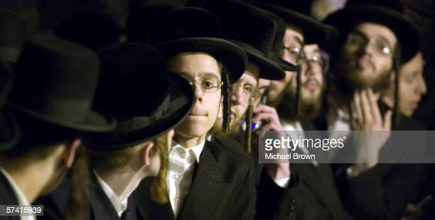 Members of the Satmar Hassidic Jewish community wait outside Teitelbaum's home on Bedford Avenue in Brooklyn on April 24 Brooklyn New York City...