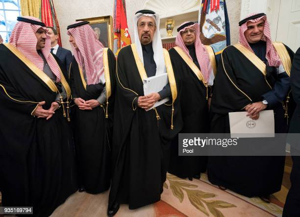 Members of the Saudi Delegation attend a meeting between President Donald Trump and Crown Prince Mohammed bin Salman of the Kingdom of Saudi Arabia...