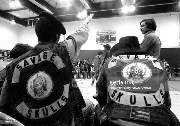 Members of the Savage Skulls gang listen as a member from the Turbans takes the floor More than 150 black and Puerto Rican youths from 20 gangs...