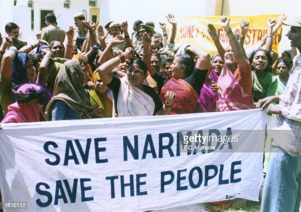 Members of the Save Narmada Movement demonstrate against US utility company Ogden Energy Group near the American Embassy in New Delhi April 4 2000...
