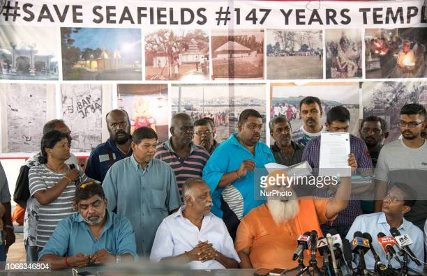 Members of the Save Seafield Temple Task Force holds a press conference at the temple on November 27 2018 in Subang Jaya Selangor Malaysia The priest...
